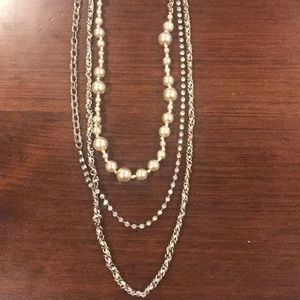 J.Crew layered statement necklace - silver